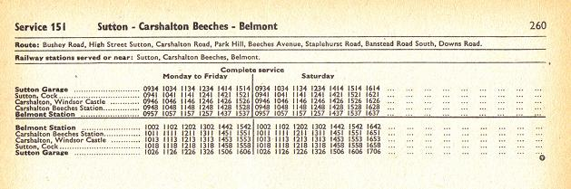LT timetable for the short-lived 151 RF route