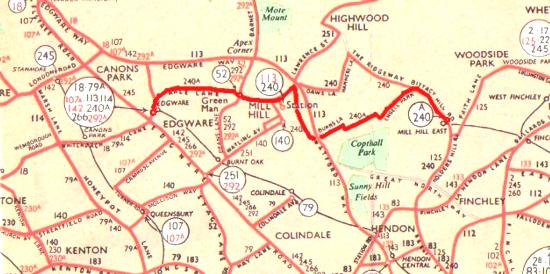 Extract from the 1964 bus map (c) LT